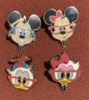 Disney Pin  Nerds Rock! Head Collection - Mickey Minnie Donald Daisy - Lot Of 4