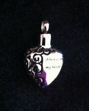 Cremation Pendant Urn locket ashes keepsake 'Always in my heart' Funeral *2