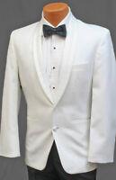 40R Handsome White Perry Ellis Encore 2 Button Tuxedo Dinner Jacket Prom Coat