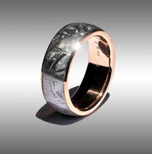 CUSTOM MADE REAL GIBEON METEORITE RING WEDDING BAND #068 IN 18K ROSE GOLD!