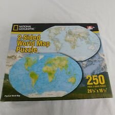 National Geographic World Map Puzzle 2 Sided Oval Shaped 250 Piece Ages 5+
