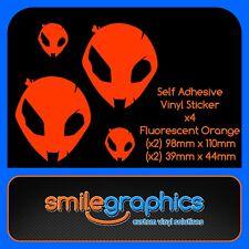 BMW S1000RR Alien Head Decals Fluorescent Orange Stickers