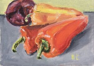 Still Life with Peppers and Onion original oil painting Impressionism