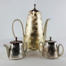 WMF Ikora Silverplate Art Deco Brushed Metal Ceramic Coffee Tea Set W. GERMANY
