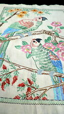 WONDERFUL Vintage circa 1930s Embroidered PARROT PICTURE