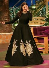 Buy DIY Black Art Dupion Silk Anarkali Gown, dresses-and-gown.....:)