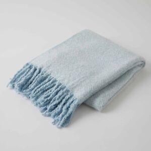 Inner Spirit Herringbone Super Soft Acrylic Fringe Throw -Blue
