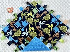 New listing Double Minky! Blue Dinosaur Minky & Blue Minky Taggie Security Blanket, Baby