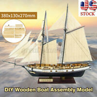 1:130 Scale Wooden Sailboat Ship Kits Home Model Decoration Boat DIY Toy Gifts
