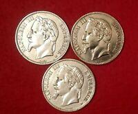 Lot 3 X 5 francs 1867, 1868, 1869 BB Napoléon III, tête laurée - TTB++