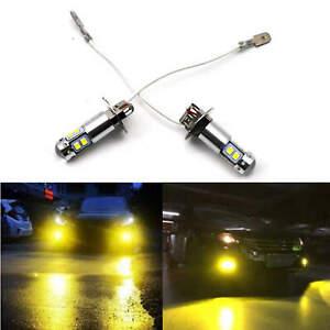 2X H3 3000k High Lumen LED Yellow Amber 55W LED Fog Light Driving Lamp Bulb DRL