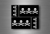 4x sticker flag car motorcycle decal bumper vinyl adhesive pirate 3 skull