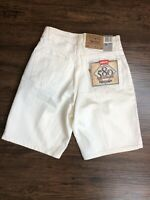 Vintage Levi's 580 Baggy Fit Pleated White Denim Shorts Orange Tab Men's 29