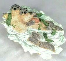 Vtg. Westland Wildlife Otter & Pup Baby Figurine Swim In Water Music Box. #P253