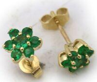Damen Ohrringe echt Smaragd Gelbgold 750 Stecker Gold 18 karat Ohrstecker Neu To