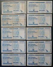 10 x ZIMBABWE 100 BILLION DOLLAR  SPECIAL AGRO-CHEQUE, 01.07.2008, gebraucht / u