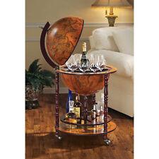 Vintage Home Pub Bar Liquor Whiskey Storage Cabinet Wine Rack Globe Mini Table