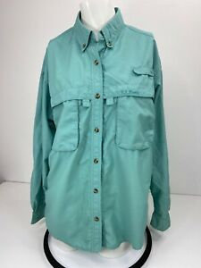 LL Bean Women's Vented Button Down Hiking Shirt Size M Teal