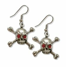 Skull with Red Stone Eyes on Cross Bones Earrings - Gothic Jewelry - Pirate fnt