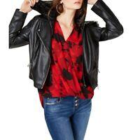 INC NEW Women's Faux Leather Velvet Hoodie Motorcycle Jacket Top TEDO