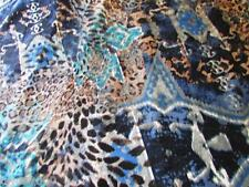 LYCRA  4W SUPER STRETCH BLUE-TURQUOISE-BROWN LEOPARD MIX PRINT NEW