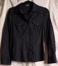 Bebe Black Button up Top, sz S, long slves, subtle pinstripe, pockets, fitted