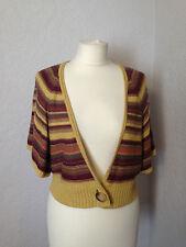 Principles yellow & grey/purple striped linen mix cardigan/shrug L (16-18)