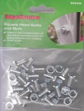 20 X SupaGarden Spare Square Head Bolts & Nuts Aluminium Greenhouse