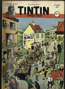 Journal de TINTIN  FRANCE 147  16 Aout 1951 Couverture TIBET Voici les Vacances