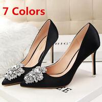 Women Pumps Pointed Toe Stilettos Slip On High Heel Rhineston Party Ladies Shoes