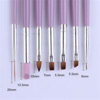7Pcs Set  Acrylic Nail Art Pen Tips UV Builder Gel Painting Brush Manicure Tool