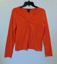 MODA INTERNATIONAL CARDIGAN SWEATER CARROT SIZE LARGE 100% COTTON WASH COLD NS