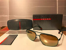 NEW Prada Sport LINEA ROSSA PS56RS UFI5N2 GreenRubber Brown Gld Mirror POLARIZED