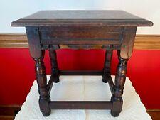 Elgin A Simonds Jacobean Oak Joint Stool Table partner w/ Stickley Syracuse Ny