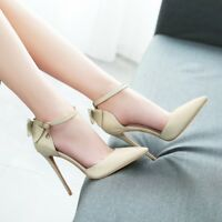 New Women Stiletto Ankle Strap High Heel Buckle Point Toe Pumps Party Shoes 1-12