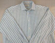 FACONNABLE Long Sleeve Button Front Shirt, Striped, Men's 6 17L 100 % Cotton