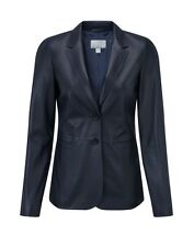 Pure Collection Leather Blazer Ink Blue Ladies UK Size 10 RRP £399 Box45 88 B