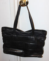 Black Leather quilted Handbag Tote Bag purse Made in ITALY