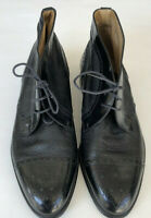 Mens Moreschi Black Leather Ankle Boots Dress Size 9 Wingtip Made In Italy