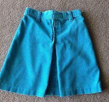 True Vintage 80's Turquoise Corduroy Elastic waist pleated front Girl 6 6X Skirt