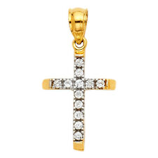 14K Yellow White Real Gold CZ Tube Religious Small Cross Jesus Pendant Charm 197ca70c45d4
