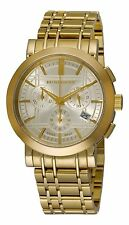 NEW Burberry Men's BU1757  Gold-Plated Stainless Steel Gold Chronograph