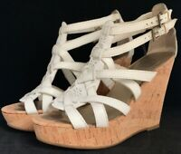 Guess Women's Sandals Size 6 M White Cork Wedge Heel Platform Strappy Leather