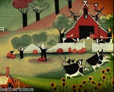 Concord House ~ Folk Art Cows Farm Harvest ~ 100% Cotton Quilt Sewing Fabric BTY
