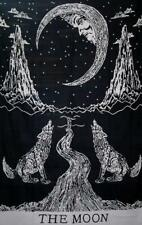Wall Tapestry Hanging Crying Wolf Decor Moon Indian Hippie Mandala Poster Art