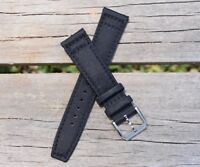 22mm Canvas Mens Army Black Genuine Leather Nylon Watch Band Watch Strap - USA!
