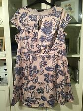 "226 Moda@George Plus Sz 20 Nude/Neutral&Blue Floral Cotton 38""Long Dress NWT"