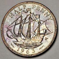 1963 QUEEN ELIZABETH II BU UNC UNITED KINGDOM HALF PENNY NICELY COLOR TONED COIN
