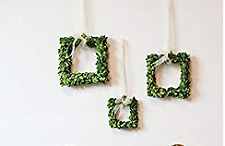 Accent Set of 3 Mini Natural Boxwood Square Wreaths