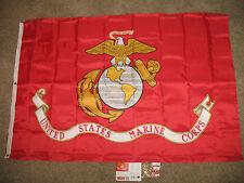 US Marine Corps 4x6 Flag (210D Nylon Flag / Heavy Duty) Double Sided Clips & Pin